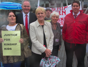 Leader of the Labour party Johann Lamont, plus MSPs Neil Bibby, Paul Martin and Jayne Baxter at the demo