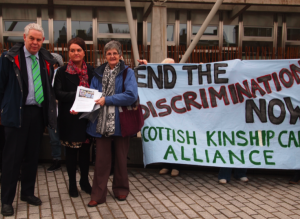 Anne Swartz (on right) outside the Scottish Parliament